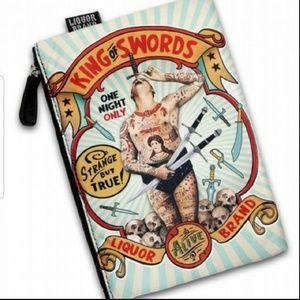 Liquor Brand King of Swords makeup bag tattoo man